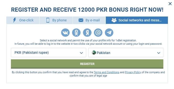 Registration 1xBet Pakistan